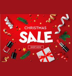 christmas sale poster template with christmas vector image