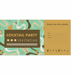 cocktail party horizontal invitation card vector image