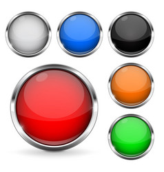 colored buttons with chrome frame round glass vector image