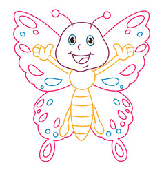 Coloring page of cartoon butterfly vector