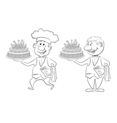 Cook and waiter with holiday cakes outline vector image