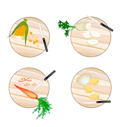 Corn Daikon Radish Carrots and Potatoes vector