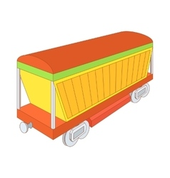 Covered freight wagon icon cartoon style vector