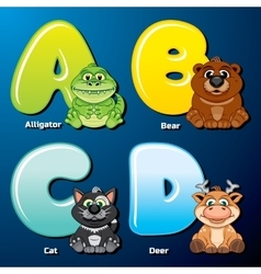 Cute Animals and Birds in Alphabetical Order vector