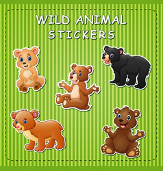 cute cartoon bears on stickers vector image