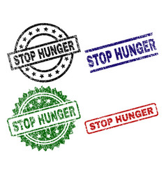 Damaged textured stop hunger stamp seals vector