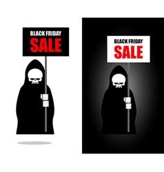 Death holds banner Black Friday sale Grim Reaper vector