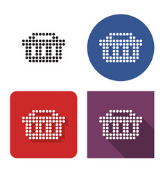 dotted icon shopping basket in four variants vector image