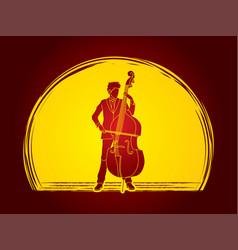 Double bass player a man play double bass vector