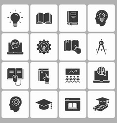 Education icon set white vector