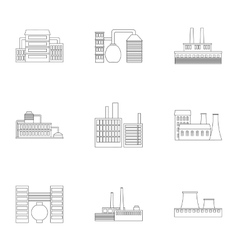 Factory set icons in outline style Big collection vector image
