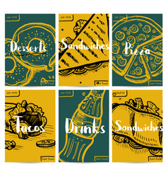 Fast food vintage hand drawn poster set vector