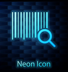 Glowing neon search barcode icon isolated on brick vector