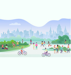 group of people performing sports activities vector image
