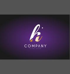 h alphabet letter gold golden logo icon design vector image
