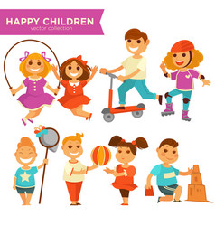 Happy children playing outdoor games icons vector