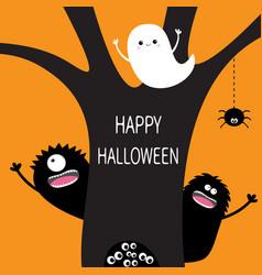 Happy halloween flying ghost hanging spider dash vector