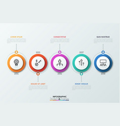 horizontal timeline with 5 circular elements vector image