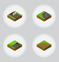 isometric road set of sand way repairs vector image