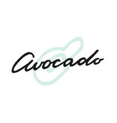 label print lettering avocado vector image