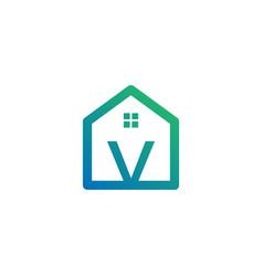 Letter v architect home construction creative vector