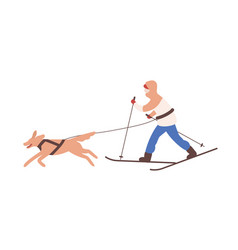man in snowsuit skiing with his dog on leash man vector image
