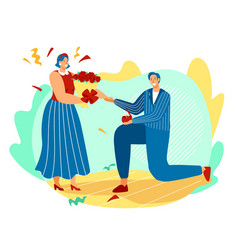 marriage proposal man on bended knee offers ring vector image