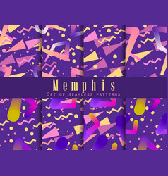 memphis seamless pattern set fashion 80s liquid vector image