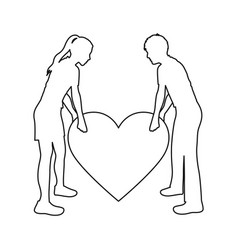 Monochrome contour with couple holding a big heart vector