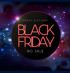neon sign black friday big sale open vector image