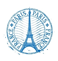 Paris logo design template Shabby stamp or vector image