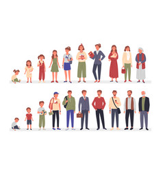 People in different ages set cartoon life aging vector