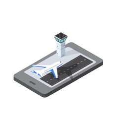 Phone concept airport runway airplane vector