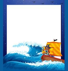Pirate sea border frame vector