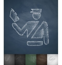 Policeman icon Hand drawn vector
