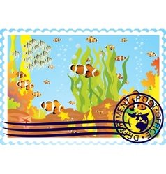 Postage stamp with the underwater world vector image