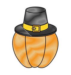 Pumpkin fresh with thanksgiving hat vector
