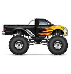 realistic black monster truck vector image