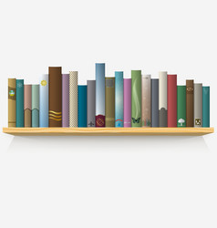 Realistic books on wooden shelf vector