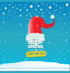 red santa hat with greeting text merry vector image