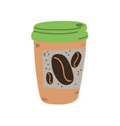 reusable coffee cup zero waste object eco vector image