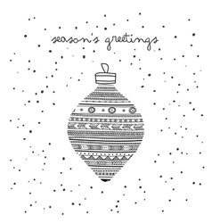 Seasons greetings ethnic bauble card vector