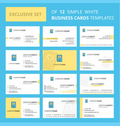 set of 12 personal diary creative busienss card vector image