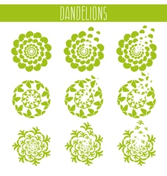 Set of abstract cute dandelions template vector