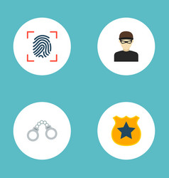 set of criminal icons flat style symbols with vector image