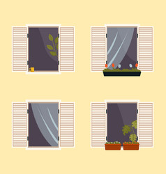 set various balconies with flowers in pots vector image