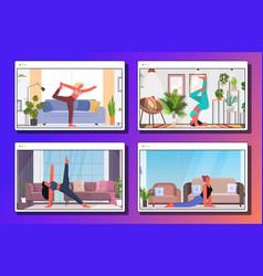 set women doing yoga exercises fitness training vector image