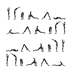 set yoga poses silhouettes vector image