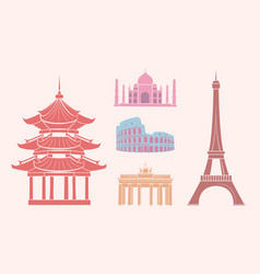 sfamous sights and attractions on travel stickers vector image