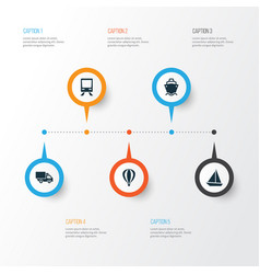 Shipment icons set collection of airship yacht vector
